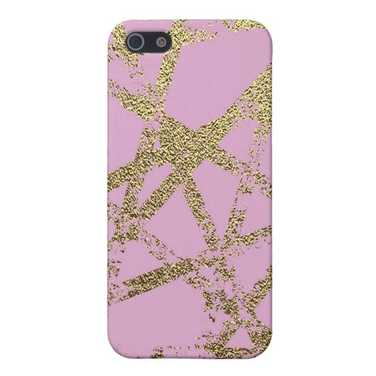 Modern,abstract,hand painted, gold lines, pink,dec iPhone 5/5S cover
