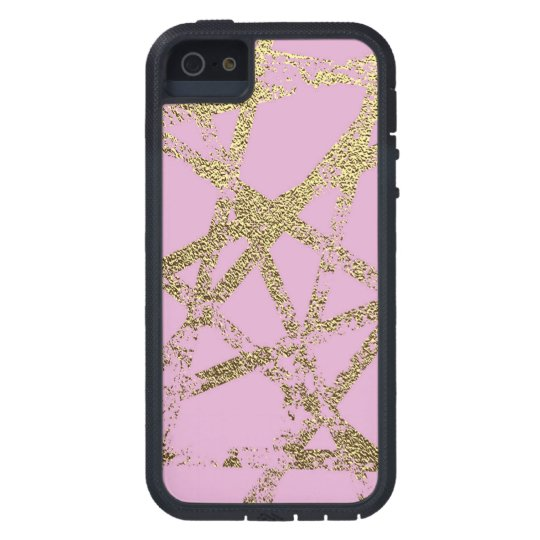 Modern,abstract,hand painted, gold lines, pink,dec iPhone 5 cover