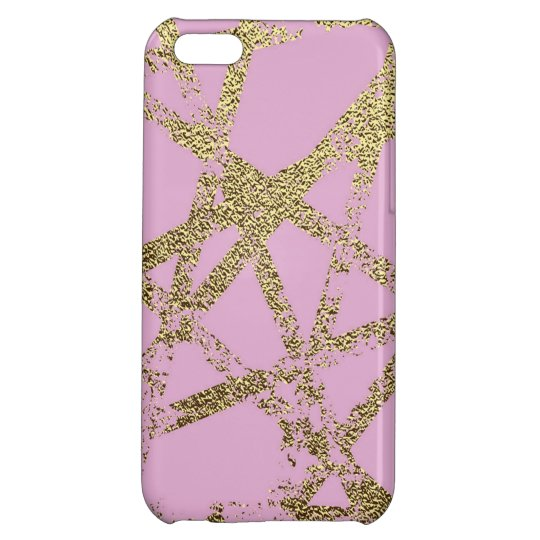 Modern,abstract,hand painted, gold lines, pink,dec iPhone 5C cover