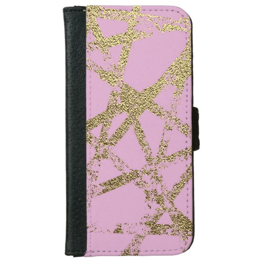 Modern,abstract,hand painted, gold lines, pink,dec iPhone 6 wallet case