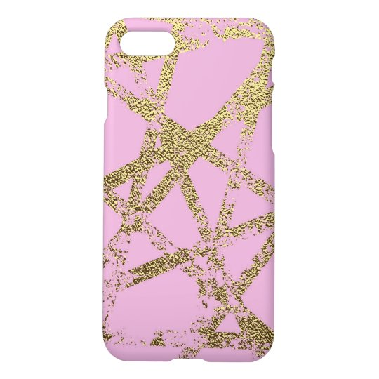Modern,abstract,hand painted, gold lines, pink,dec iPhone 8/7 case