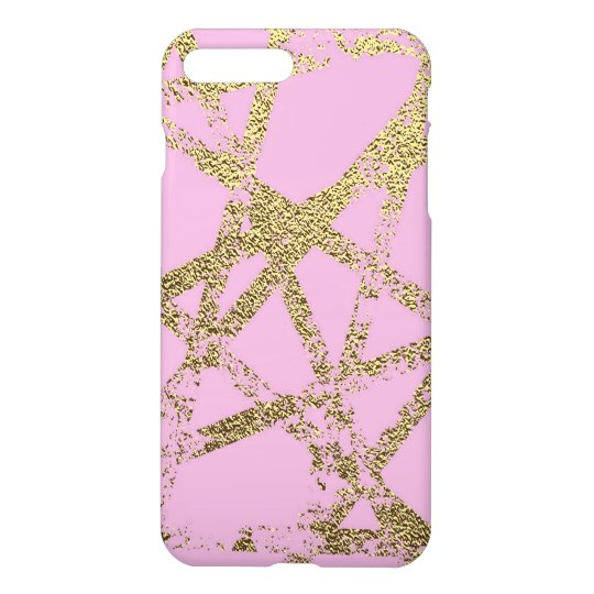Modern,abstract,hand painted, gold lines, pink,dec iPhone 8 plus/7 plus case