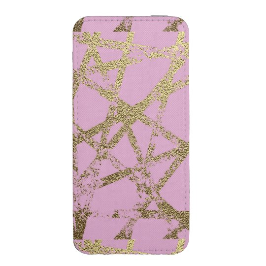 Modern,abstract,hand painted, gold lines, pink,dec iPhone pouch