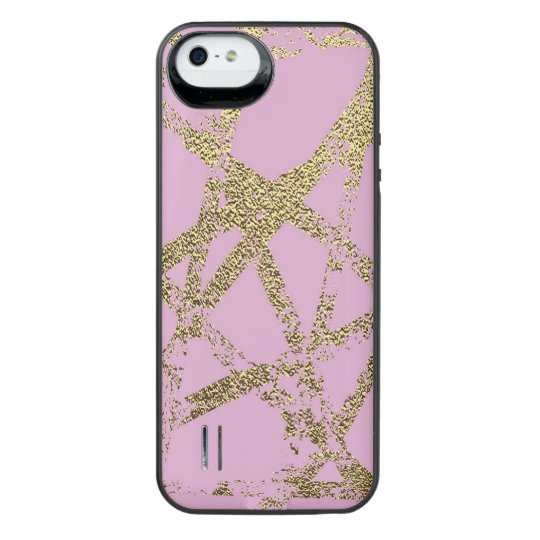 Modern,abstract,hand painted, gold lines, pink,dec iPhone SE/5/5s battery case