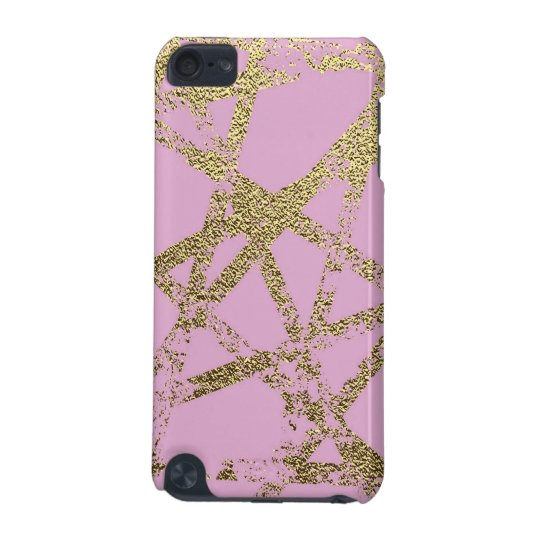 Modern,abstract,hand painted, gold lines, pink,dec iPod touch 5G cover