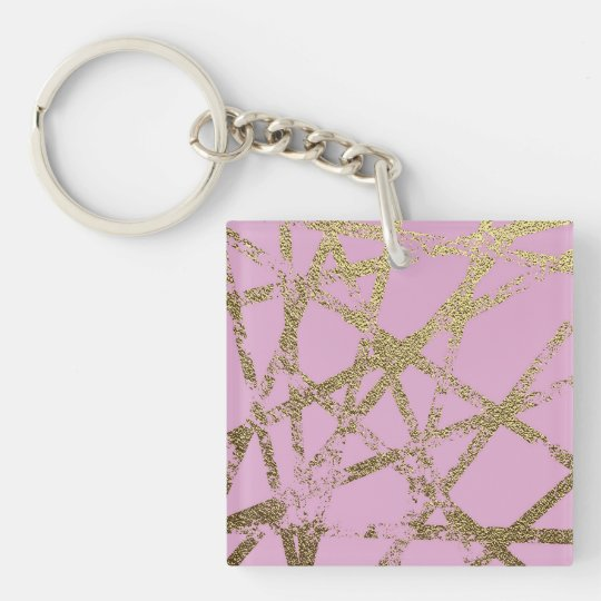 Modern,abstract,hand painted, gold lines, pink,dec keychain