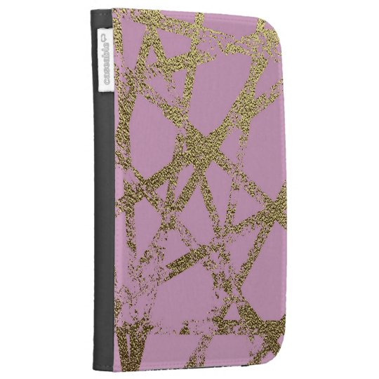 Modern,abstract,hand painted, gold lines, pink,dec kindle keyboard cases
