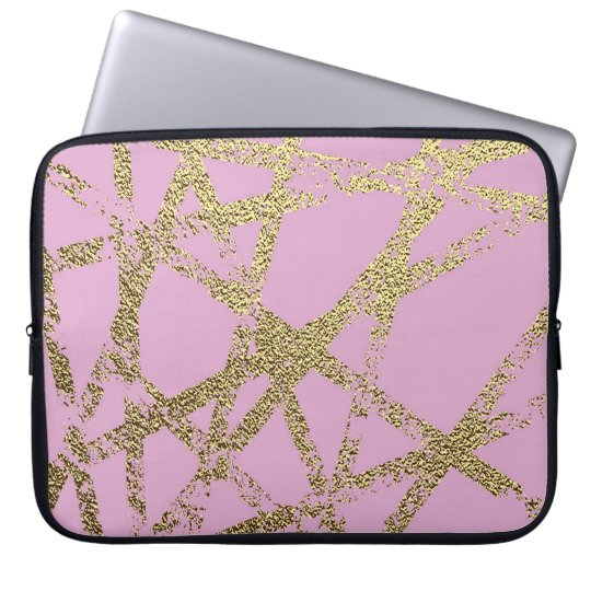 Modern,abstract,hand painted, gold lines, pink,dec laptop sleeve