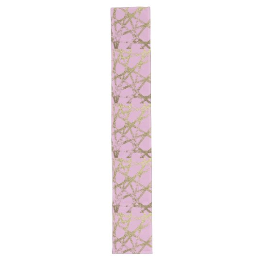 Modern,abstract,hand painted, gold lines, pink,dec long table runner