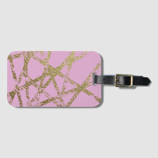 Modern,abstract,hand painted, gold lines, pink,dec luggage tag