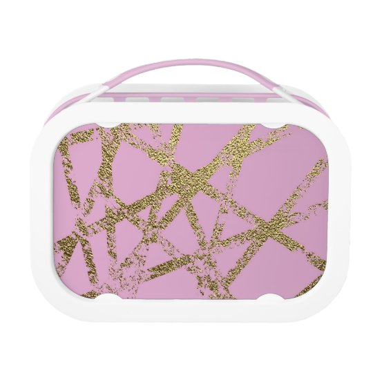 Modern,abstract,hand painted, gold lines, pink,dec lunch box
