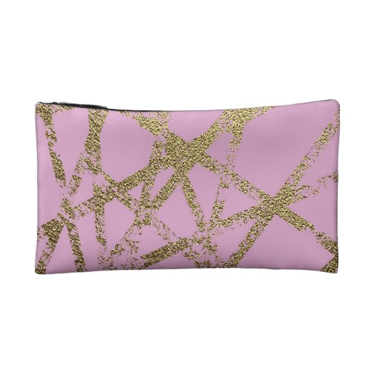 Modern,abstract,hand painted, gold lines, pink,dec makeup bag