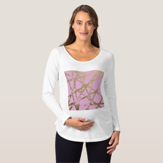 Modern,abstract,hand painted, gold lines, pink,dec maternity T-Shirt