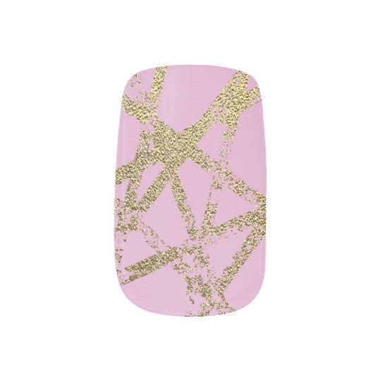 Modern,abstract,hand painted, gold lines, pink,dec minx nail art