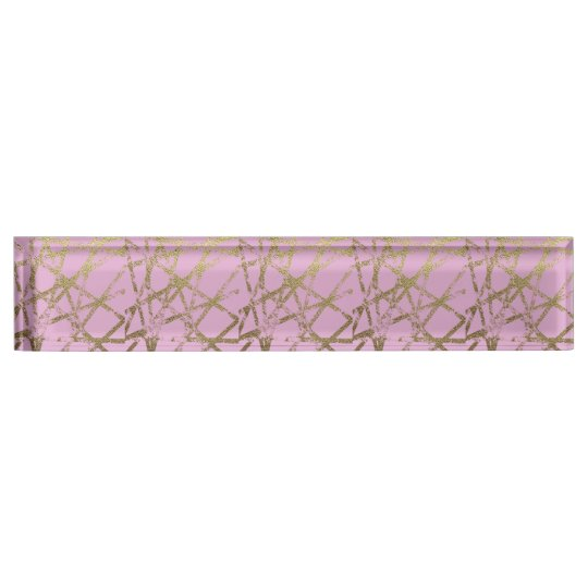 Modern,abstract,hand painted, gold lines, pink,dec name plate