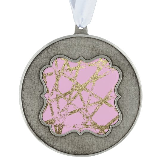 Modern,abstract,hand painted, gold lines, pink,dec ornament