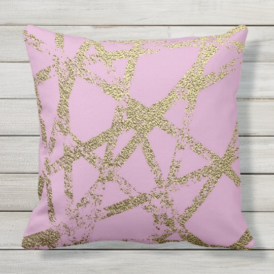Modern,abstract,hand painted, gold lines, pink,dec outdoor pillow