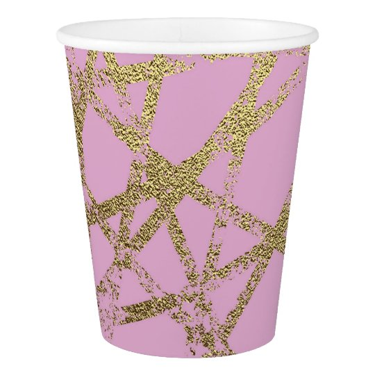 Modern,abstract,hand painted, gold lines, pink,dec paper cup