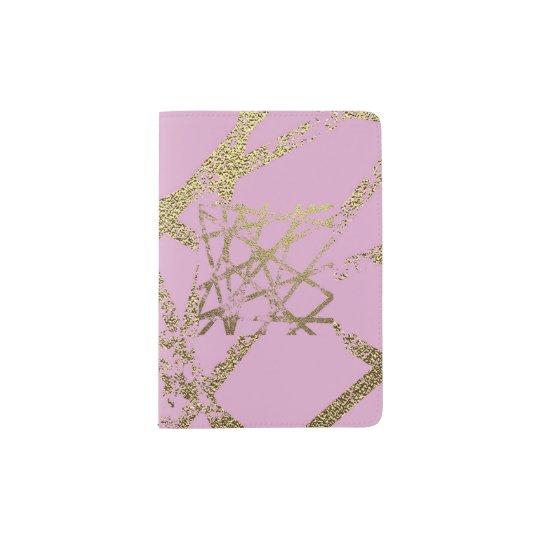 Modern,abstract,hand painted, gold lines, pink,dec passport holder