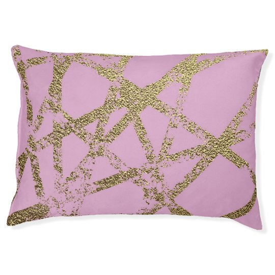Modern,abstract,hand painted, gold lines, pink,dec pet bed