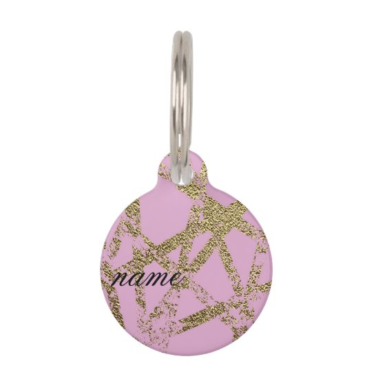 Modern,abstract,hand painted, gold lines, pink,dec pet name tag
