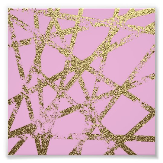 Modern,abstract,hand painted, gold lines, pink,dec photo print