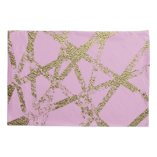 Modern,abstract,hand painted, gold lines, pink,dec pillowcase