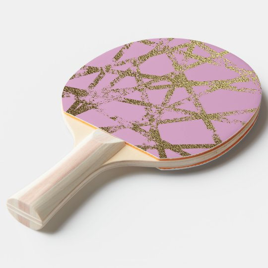Modern,abstract,hand painted, gold lines, pink,dec ping pong paddle
