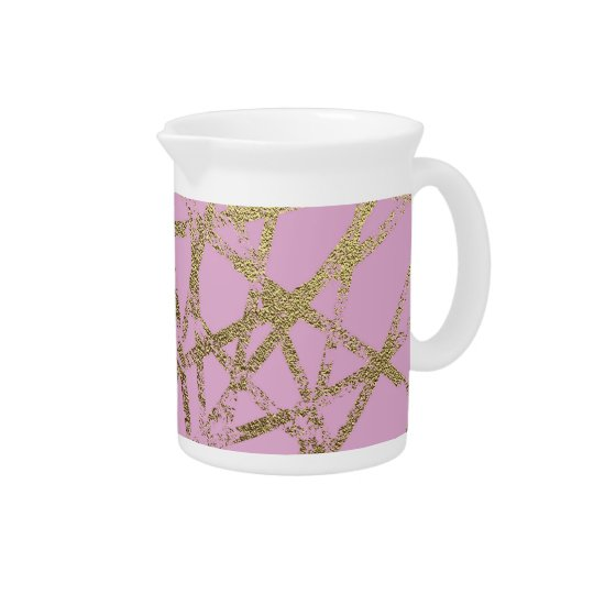 Modern,abstract,hand painted, gold lines, pink,dec pitcher