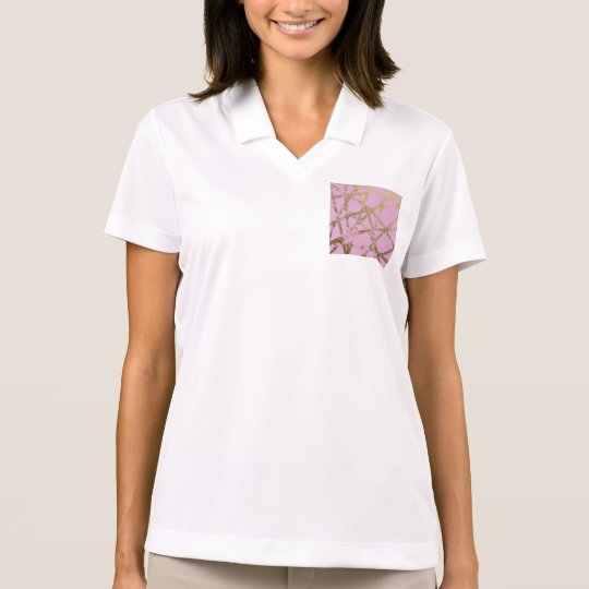 Modern,abstract,hand painted, gold lines, pink,dec polo shirt