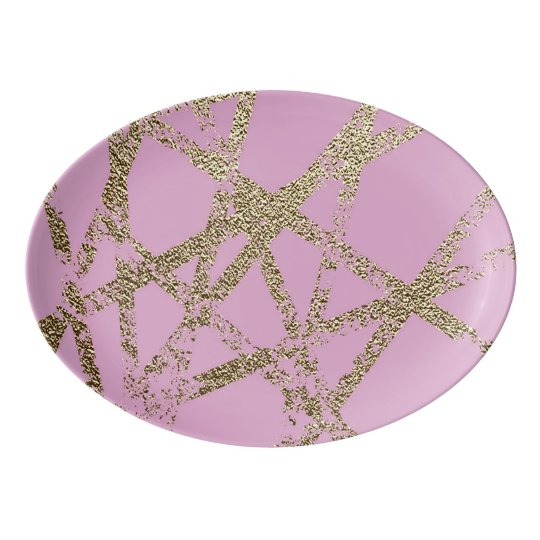 Modern,abstract,hand painted, gold lines, pink,dec porcelain serving platter