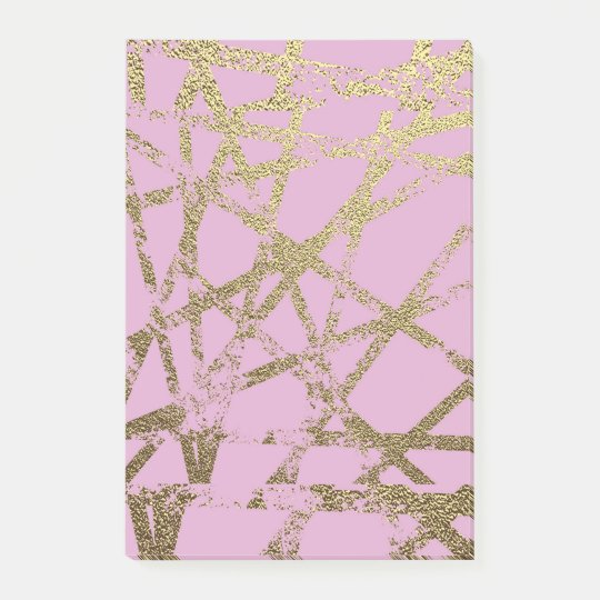 Modern,abstract,hand painted, gold lines, pink,dec post-it notes