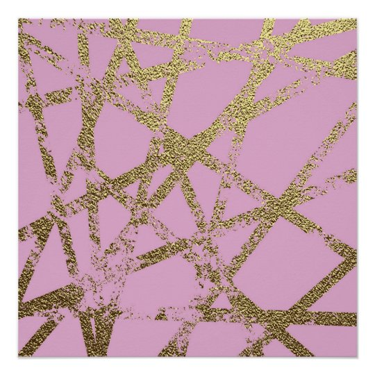 Modern,abstract,hand painted, gold lines, pink,dec poster