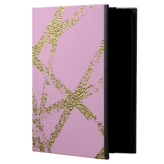 Modern,abstract,hand painted, gold lines, pink,dec powis iPad air 2 case