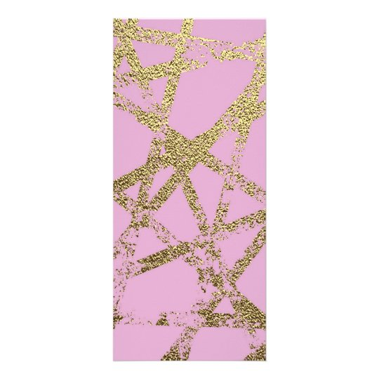 Modern,abstract,hand painted, gold lines, pink,dec rack card