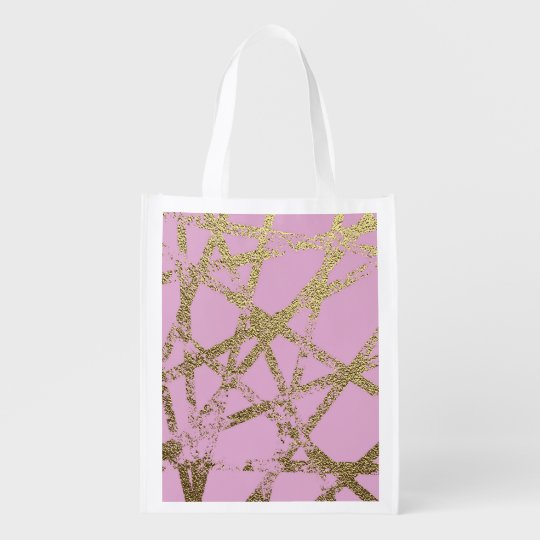 Modern,abstract,hand painted, gold lines, pink,dec reusable grocery bag