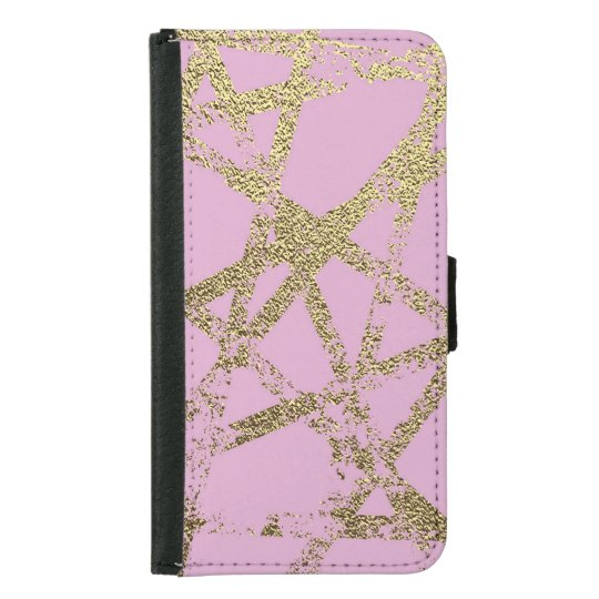 Modern,abstract,hand painted, gold lines, pink,dec samsung galaxy s5 wallet case
