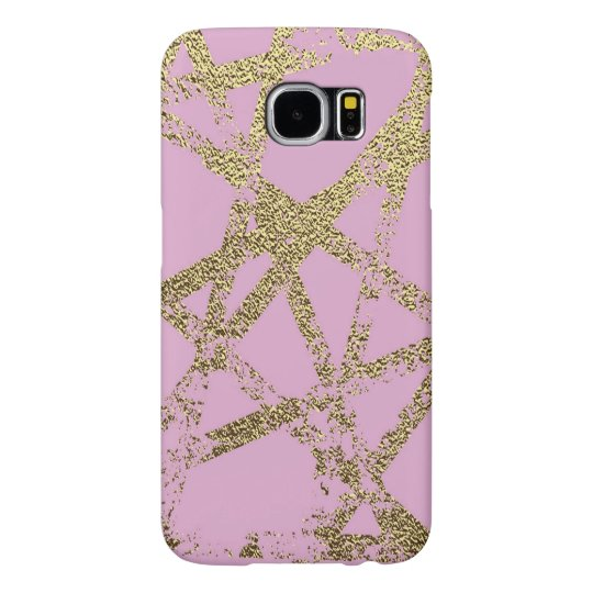 Modern,abstract,hand painted, gold lines, pink,dec samsung galaxy s6 case