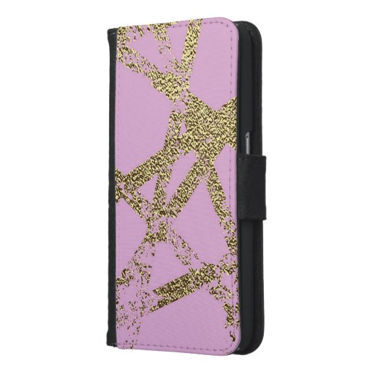 Modern,abstract,hand painted, gold lines, pink,dec samsung galaxy s6 wallet case