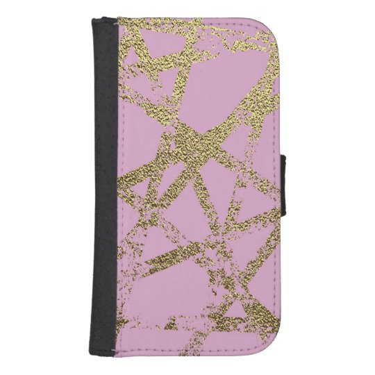 Modern,abstract,hand painted, gold lines, pink,dec samsung s4 wallet case