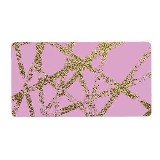 Modern,abstract,hand painted, gold lines, pink,dec shipping label