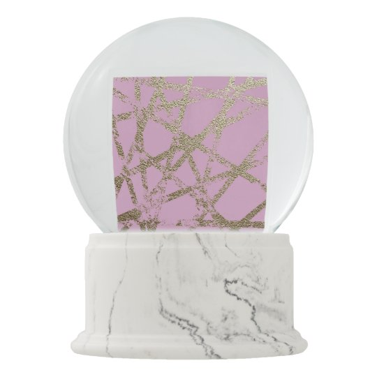 Modern,abstract,hand painted, gold lines, pink,dec snow globe