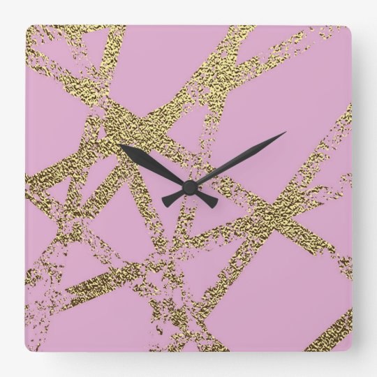 Modern,abstract,hand painted, gold lines, pink,dec square wall clock