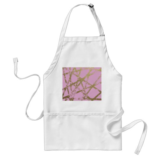 Modern,abstract,hand painted, gold lines, pink,dec standard apron