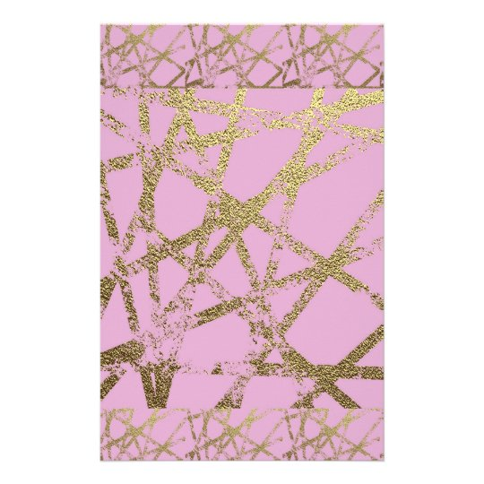 Modern,abstract,hand painted, gold lines, pink,dec stationery