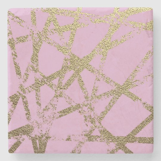 Modern,abstract,hand painted, gold lines, pink,dec stone coaster