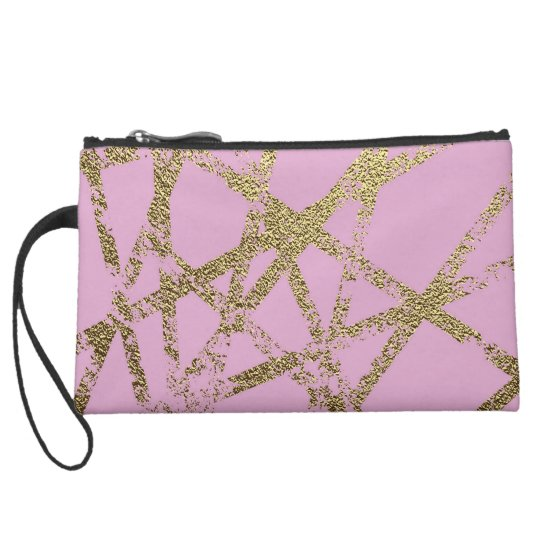 Modern,abstract,hand painted, gold lines, pink,dec suede wristlet