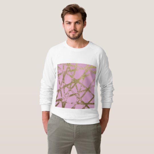 Modern,abstract,hand painted, gold lines, pink,dec sweatshirt