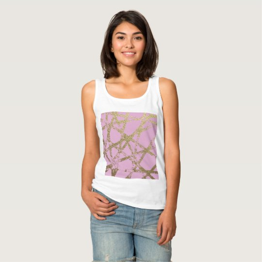 Modern,abstract,hand painted, gold lines, pink,dec tank top