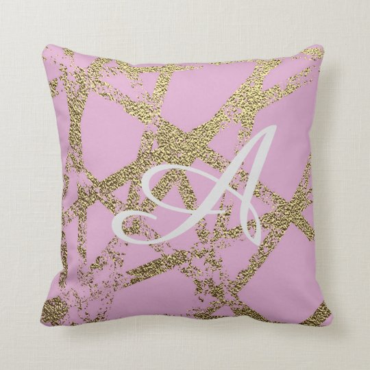 Modern,abstract,hand painted, gold lines, pink,dec throw pillow
